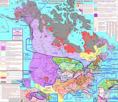 North American English dialects map. Surprisingly intricate; I wonder what it would have looked like 50 years ago. I expect it would have been even more elaborate.