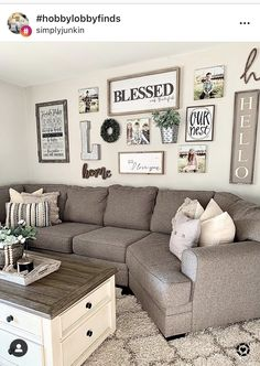 Farmhouse house style living room and gallery wall. Family Room Walls, Family Wall Decor, Room Wall Decor, Living Room Redo, Home Living Room, Living Room Designs, Living Room Inspiration, Diy Home Decor, Wall Ideas