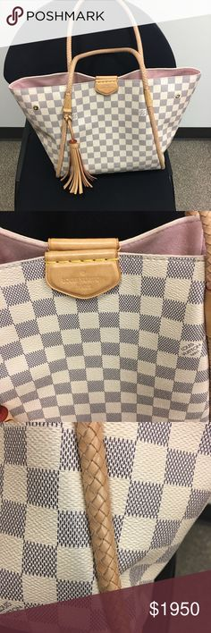 Louis Vuitton propriano bag Authentic Louis Vuitton (propriano) handbag  In good conditions has small wear on handles and small denim stains needs a cleaning but other than that in good conditions. I have dust bag as well and box.  Product # N44027  Color: Azur  No trades Louis Vuitton Bags Totes