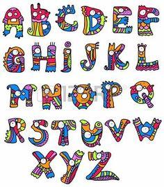 Fuente Joyful Cartoon - de la A a la Z, mano monstruo dibujado carta, alfabeto divertido para el Dise�o photo