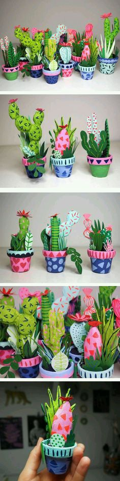 Kim Sielbeck's paper cacti to hold in the palm of your hand - Cactus DIY Kids Crafts, Diy And Crafts, Arts And Crafts, Diy Paper, Paper Art, Paper Clay, Papier Diy, Paper Mache Crafts, Paper Mache Projects