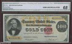 $100 1882 Gold Certificate CGA 68 Spectacular Highest Graded by CGA