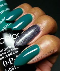 OPI Gelcolor Amazon Amazoff with OPI Gelcolor On Her Majesty's Secret Service accent nail. OPI Brazil 2014 collection