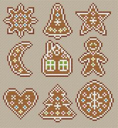 Gingerbread Stitch a sampler or make Christmas tree ornaments - whatever you choose.Design by Ksenia Adonyeva Pattern size in stitches: Canvas size (Aida 14, wi
