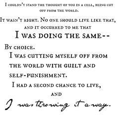 Reading the last book in Vampire Academy, this quote just hit home for me, because I do the same thing, every day, punishing and hating myself. The difference is, I haven't killed (or even hurt) anyone, but I do it anyway. And I trap myself with guilt every day, for the smallest things.