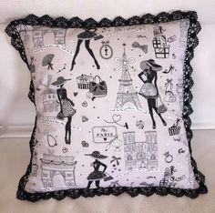 Un joli coussin en peu de temps: 50 cm de tissu, un peu de dentelle et hop! A très vite... Viny. fournitures sur www.e-mercerie.com Fichier PDF  - coussin dentelle.pdf La mercerie en ligne e-mercerie c'est un large choix de tissus à la coupe, d'accessoires... Sewing Pillows, Diy Pillows, Cushions, Throw Pillows, Pop Couture, Couture Sewing, Sewing Tutorials, Sewing Crafts, Sewing Projects