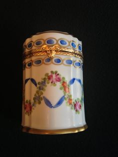 French Porcelain Hand Painted Tall Box Pink Roses by Pixipieces, $110.00