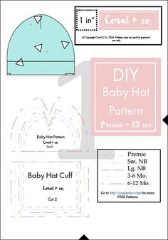 DIY Baby Hat Sewing Pattern and Tutorial in sizes Preemie - 12 Months. — Coral