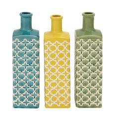 Benzara The TallCeramic Stripe Vase, 3 Assorted Colors