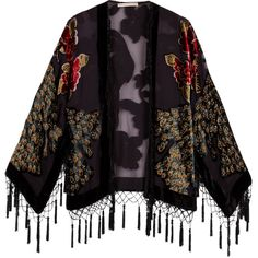 Kite & Butterfly Peacock Devoré Fringed Cape (€145) ❤ liked on Polyvore featuring outerwear, jackets, tops, coats, women, women's tops, womenswear, velvet cape, kite and butterfly and cape coat