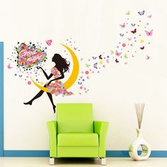 Amazon.com: YUFENG Removable DIY PVC Wall Sticker Decor Flower Fairy Princess Butterfly Dancing Girls, Sweet Romance Flower Fairy Princess Moon Girl Wall Stickers Sitting Bedroom (princess girl 3): Baby