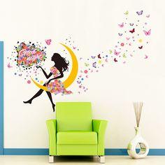 Amazon.com: YUFENG Removable DIY PVC Wall Sticker Decor Flower Fairy Princess Butterfly Dancing Girls, Sweet Romance Flower Fairy Princess Moon Girl Wall Stickers Sitting Bedroom (princess girl 3): Baby
