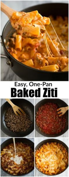 Pan Baked Ziti My family LOVES this easy and delicious Baked Ziti recipe, and I love that it's made all in just one pan! It's as fast and delicious as comfort food gets and ready in less than 30 minutes! Bulgogi, Fast Dinners, Quick Meals, Fast And Easy Recipes, One Pan Meals, Ziti Al Horno, Easy Pasta Dinner Recipes, Pasta Recipes, Fast Easy Dinner
