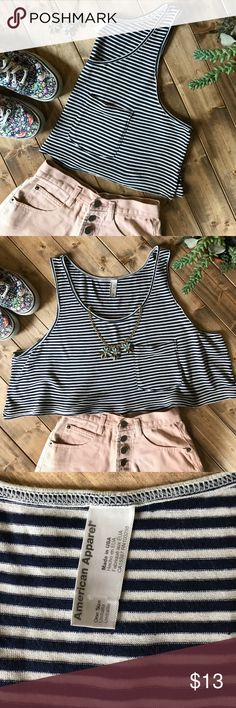 • AMERICAN APPAREL striped tank • Navy and white striped tank with a tiny pocket. Cropped and cute! No flaws and in perfect condition! American Apparel Tops Tank Tops