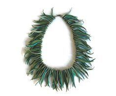 Boheme Statement Necklace, Mint Green Suede Fringe Necklace, Leather Jewelry…