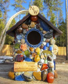 Outdoor Birdhouse Mosaic Stone And Wine by WinestoneBirdhouses, $55.00