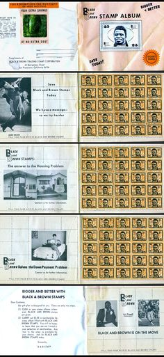 The Black and Brown Trading Stamp Corporation was founded by former Oakland Raider receiver Art Powell and featured images of superstar James Brown. The stamps were issued by merchants in Oakland during the late-1960s in an attempt on the part of businesses in the black community to provide incentives to local patrons.