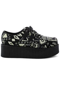 Geometric Pattern Print Creeper Platforms Shoes