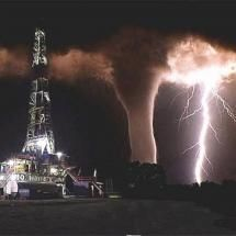Tornado behind an Oil Rig. I wasn't there but there was a legit Tornado in North Dakota where I work in the oil fields...