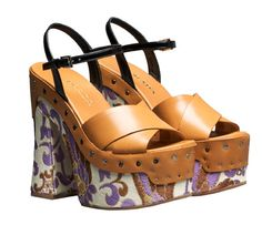 Trend: Platform. Look: Prada platform leather and silk heels.