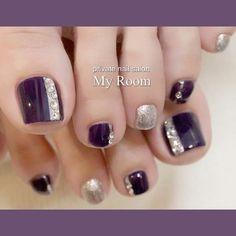 Fuß / Purple-my_room Nagelbuch Manicure Nail Designs, Pedicure Designs, Pedicure Nail Art, Toe Nail Designs, Acrylic Nail Designs, Nail Manicure, Fall Pedicure, Fall Toe Nails, Pretty Toe Nails