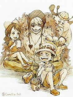 Baby 5, Buffalo, Corazon, Law, cute, young, childhood, food, burgers, fries, eating; One Piece
