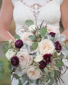 Plum, gray, blush, and cream bridal bouquet by Plum Sage Flowers with touches of burgundy and sage green. Featuring garden roses, roses, ranunculus, and eucalyptus. Photo by Dawn Sparks