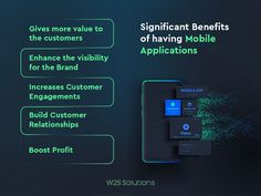 #MobileApplications are a very crucial need for every business to lead their business in an efficient and profitable way. The top Significant Benefits of having Mobile Applications for your Business are portrayed in the below image. Willing to build a custom mobile app for your business? Reach #W2SSolutions, The leading Mobility Solutions Provider in Market. Mobile App Development Companies, Mobile Application Development, Web Development, Data Analytics, Android Apps, Benefit, Mobile Applications, Digital, Business