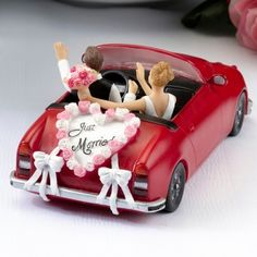 Red Convertible Car Bride & Groom Topper from Wedding Favors Unlimited