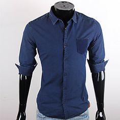 CUBFACE Men's Royal Blue Leisure Business Shirt