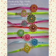 Quilling bracelet /rakhi from Sanskruti Art and crafts Paper Quilling Earrings, Quilling Paper Craft, Quilling Rakhi, Handmade Rakhi Designs, Rakhi Cards, Quilling Videos, Rakhi Making, Quilling Christmas, Quilled Creations