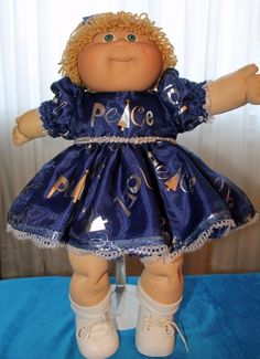 "Cabbage Patch Doll Cloths -Blue and Silver Dress and Panties,  fits 16""…"