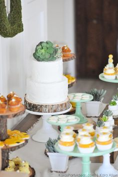 Succulent cake at a Bee Baptized | Bee themed baptism birthday party by Kara Allen | Kara's Party Ideas | KarasPartyIdeas.com Baby shower ideas, too!-147