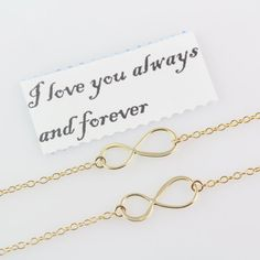 Gold INFINITY Necklace  Gold Mother daughter necklace . by MonyArt