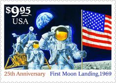 This stamp was issued in 1994 (along with another very similar one) to mark the 25th anniversary of the first moon landing. What an achievement!
