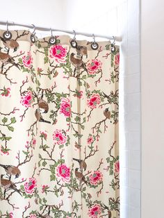 Birds /& Blooms Shower Curtain IN HAND Ivory Fabric Pink Floral Flower Bath Decor