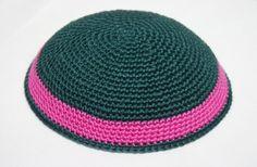 kippah dark green with magenta by crochetkippah on Etsy