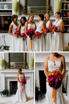 A bright and vibrant citrus inspired color palette, quirky details, and ultra stylish black and white attire come together to create a chic colorful modern wedding at The Grand Event Center in Columbus, OH. Mismatched Bridesmaid Dresses, Bridesmaids, Minimalist Wedding Dresses, Bridesmaid Inspiration, Gorgeous Wedding Dress, Boutonnieres, Reception Decorations, Wedding Details, Wedding Colors
