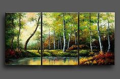 Modern Abstract Huge Wall Art Oil Painting On Canvas 3pcs (No Frame)