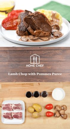Lamb Chop with Pommes Puree with cremini mushrooms and red wine sauce Creamy Mushrooms, Stuffed Mushrooms, Lamb Dishes, Wine Sauce, Lamb Chops, Home Chef, Roast, Good Food, Meals