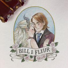 A perfect couple #harrypotter #billandfleur #fanart #portrait #painting #hpcdrawing #watercolor #gouache #art #artist #artwork #artistsoninstagram #illustration #potterportraits