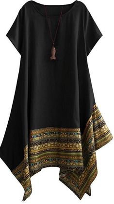 Minibee Womens Ethnic Cotton Linen Short Sleeves Irregular Tunic Dress (M Black) - Tunic Dreses - Shop for Tunic Dreses for sales. - The post Minibee Womens Ethnic Cotton Linen Short Sleeves Irregular Tunic Dress (M Black) appeared first on Dress Honey. Batik Dress, Linen Shorts, Ethnic Fashion, Pakistani Fashion Casual, Short Sleeve Dresses, Short Sleeves, Tunic Dresses, Cotton Linen, The Dress