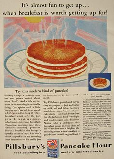 1930 Pillsbury's Pancake Flour Ad ~ Almost Fun to Get Up