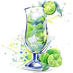Cocktail fruit, ice and a splash. Hand drawn watercolor illustration — Imagen de stock #78254932