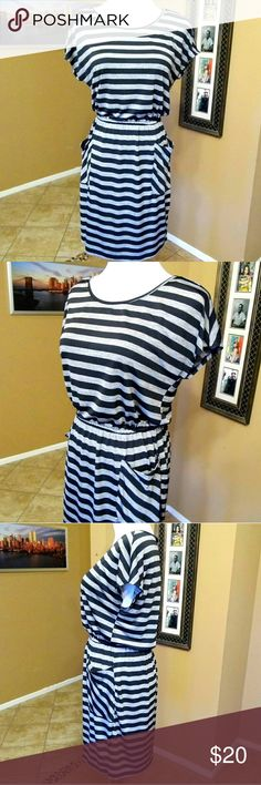 """Super cute grey and black striped dress w/ pockets Very very adorable. Stretchy material. 95% Polyester 5% Spandex  Armpit to armpit 18.5""""  Length from Shoulder to hem 35.5"""" Sweet Storm Dresses"""