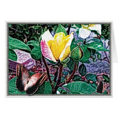 Golden Flame Card. 50% OFF CARDS. Use CODE: FEBSENDS2017 til Midnite 2-16-17 11:59pmPT. Based on a digital photograph, our yellow rose is rendered with special filters and treatments to transform it into an imaginary garden space. Experience the dream. The inside panels are left blank for the writer to express themselves personally. Over 3000 products at my Zazzle online store. Open 24/7 World wide! http://www.zazzle.com/greg_lloyd_arts*?rf=238198296477835081