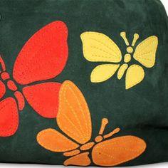 "Сумка ""Три бабочки"", зеленая замша"
