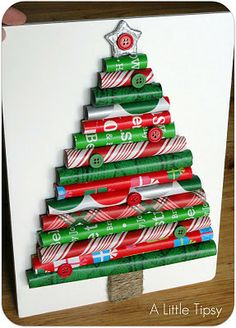 paper christmas tree craft | Rolled wrapping paper Christmas tree | Interest Box