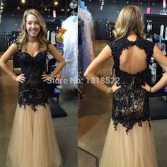 Elegant Black Lace Appliques Beaded Champagne Tulle Prom Dresses 2015 Open Back