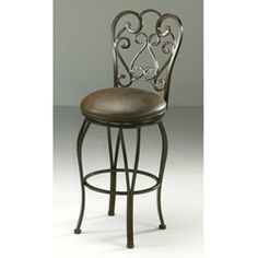 @Overstock - Reminiscent of the chairs seen at an elegant French cafe, this swivel counter stool will add a decorative designer touch to any bar counter or dining room table. The autumn rust finish adds a rustic appeal, and the vinyl upholstery is easy to clean.http://www.overstock.com/Home-Garden/Magnolia-26-inch-Swivel-Counter-Stool/5492319/product.html?CID=214117 $207.99